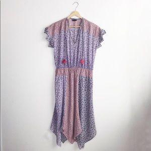 Vintage Diane Fres Floral V-Neck Kerchief Dress L